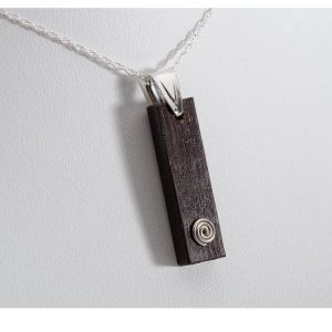 Bog Oak Rectangle Swirl Pendant