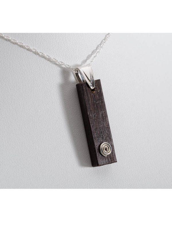 Bog Oak Rectangle Swirl Pendant